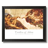 Michelangelo Creation Of Adam # 2 Religious Wall Picture Black Framed Art Print