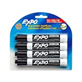 Expo 2 Low-Odor Dry Erase Markers, Chisel Tip, 4-Pack, Black (80661)