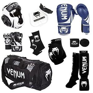 Venum Challenger 2.0 MMA Training Bundle, Blue Gloves, Black In-Step Shinguards, Black MMA Gloves, Black Headgear, Black Handwraps, Black/White Mouthguard, Black Sport Bag, Black Ankle Support, Black Elbow Protector, 12-Ounce Boxing Gloves, Medium MMA Gloves