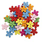 Sanwood 100pcs Colorful Flower Flatback Wooden Buttons Sewing Scrapbooking Craft