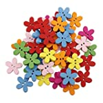 HOUSWEETY 100pcs Colorful Flower Flat...