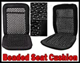 2x Pair Wood Bead Seat Cover Massage Cool Premium Black Comfort Cushion - Reduces Fatigue