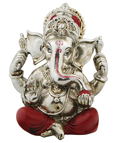Auspicious Ganesh Statue in Red and Silver