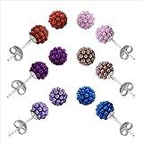 925 Silver Brown,Pink,Blue,Purple sterling-silver Ball Stud Earrings combo For Women-17259C