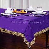 "Purple - Handmade Sari Oblong Tablecloth (India) - 60 x 120"""