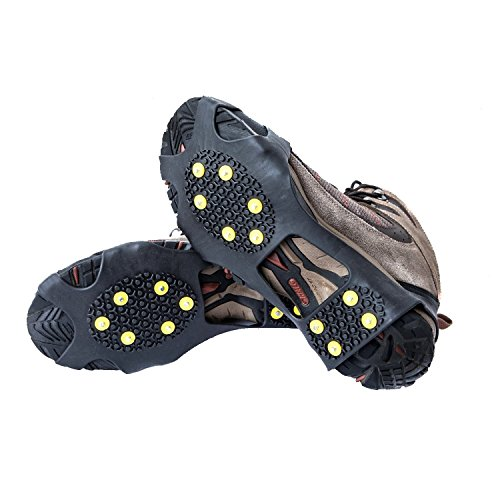 OuterStar Ice & Snow Grips Over Shoe/Boot Traction Cleat Rubber Spikes Anti Slip 10-Stud Crampons Slip-on Stretch Footwear S/M/L/X-L (Medium) (Shoe Ice Grippers compare prices)