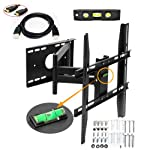 "Lumsing Universal Corner TV Wall Mount Bracket with Full Motion Swing Out/Extendable & Tilting & Swivel Articulating Arm for 14""-40"" LED, LCD, Plasma TVs and flat panel displays such as Dynex, Dell, Olevia syntax, polaroid, Sony, Samsung, LG, Haier, Panasonic, Vizio, Sharp AQUOS, Insignia, Westinghouse, Pioneer, ProScan, RCA, Toshiba, Magnavox, Sanyo, Philips, Emerson, Coby, JVC, AOC---Slim Profile Long arm Articulating TV Mount with 6 Feet HDMI and Magnetic Bubble Level!!!((Heavy-duty Solid Steel Construction! Hold Up to 55 lbs! 20 Degree forward/downward Tilt! 180 degrees Right / Left Rotation!Slim 3.25"" profile when folded! Extends up to 19""! VESA standard 75/100/200/400)"