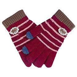 Damara Women's Durable Touch Screen Stripe Knit Wool Gloves,Red