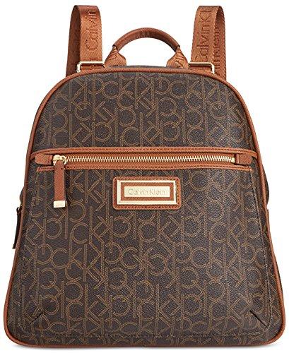 Calvin Klein Womens Signature Backpack Brown/Khaki/Luggage