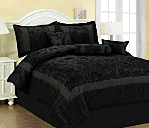 7 Pcs Flocking Black Roses Floral Satin Comforter Set Bed In A Bag Queen