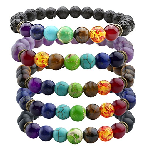 JOVIVI-7-Chakras-Gemstone-Bracelet-Natural-Stones-Yoga-Reiki-Prayer-Stone-Pack-of-5