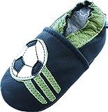 Weiche alleinige lederne Babyschuhe Kleinkind Kinder Hausschuhe Carozoo Soccer Dark