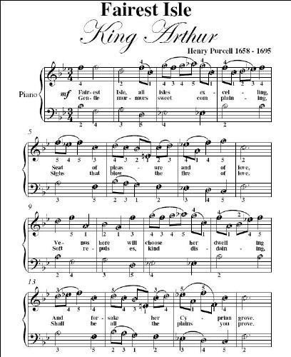CHEAP Fairest Isle King Arthur Purcell Easy Piano Sheet Music