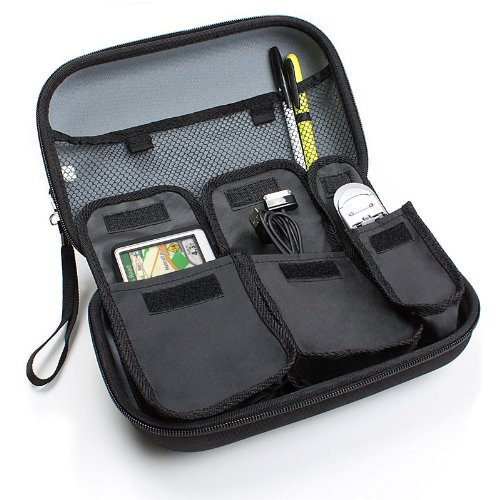 Premium Hard Shell Travel Case for Select Garmin Nuvi , Magellan Roadmate , TomTom GO Live GPS Navigators - To Hold Unit, Adapters, Memory Cards and Other Accessories