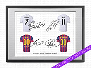 poster mit bilderrahmen mit passepartout barcelona real madrid motiv mit gedruckten. Black Bedroom Furniture Sets. Home Design Ideas