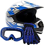 Youth Offroad Gear Combo Helmet Gloves Goggles DOT Motocross ATV Dirt Bike MX Motorcycle Blue - Large