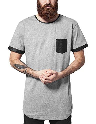 Urban Classics Long Shaped Leather Imitation Tee, T-Shirt Uomo, Mehrfarbig (Gry/Blk 119), Medium