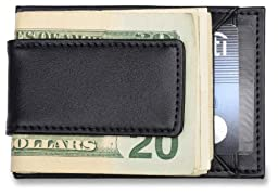 Mens Credit Card Holder and Money Clip - Black Leather Wallet, Fits Front Pocket