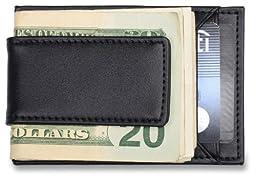 Mens Credit Card Holder and Money Clip - Black Leather Wallet, Fits Front Pocket