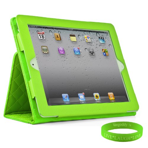 Lime Green Padded iPad Skin Cover Case Stand with Screen Flap and Sleep Function for all Models of The New Apple iPad ( 3rd Generation, wifi , + AT&T 4G , 16 GB , 32GB , 64 GB, MC707LL/A , MD328LL/A , MC705LL/A , MC706LL/A , MD329LL/A , MD368LL/A , MC756LL/A , MC744LL/A ect.. ) + Live * Laugh * Love Vangoddy Trademarked Wrist Band!!!