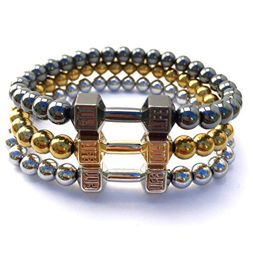 good-designs-fitness-dumbbell-pendant-bracelet-black-gold-silver-hematite-natural-stone-bead-bracele