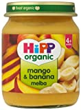 HiPP Organic Stage 1 From 4 Months Mango and Banana Melba 6 x 125 g (Pack of 2, Total 12 Pots)