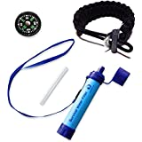 Survival Personal Water Filter for Camping, Hiking, Backpacking, and Prepping. Portable Purifier is BPA Free and Lightweight. Filtration System removes 99.9% bacteria, includes Travel Strap