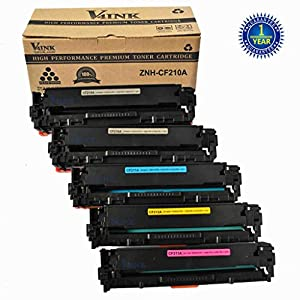 5 Pack V4INK® (2 Black + 1 each Color ) New Compatible 131A Toner Cartridge for Laserjet Pro M251 M276 Toner Printers -- CF210A Black,CF211A Cyan,CF212A Yellow,CF213A Magenta