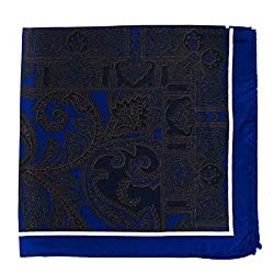 PS-A-667 - Silk Pocket Square - Navy - Brown