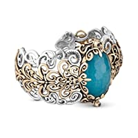 Relios Sterling Silver Mixed Metal Blue Quartzite Doublet Cuff by Relios