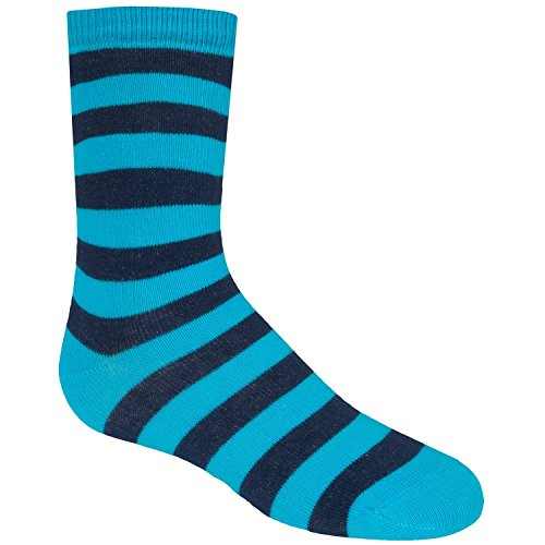 Richer Poorer Walk On Striped Socks (For Big Boys) (Medium, Cyan/Navy)