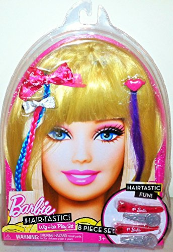 Barbie Hair-tastic Wig Hair Play Set -Blonde- Dress up 8 Pieces
