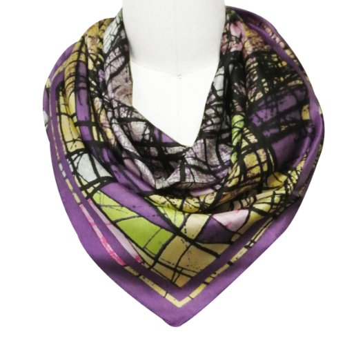 Wrapables Luxurious 100% Charmeuse Silk Square Scarf, Contemporary Orchid