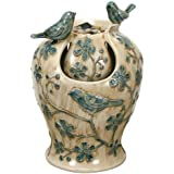 Nature's Garden Tabletop Water Fountain with Blue and Ivory Birds