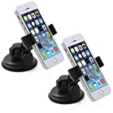 [2 PACK] Universal Windshield Mobile Phone Car Mount Holder - 360° Rotation - Easy Installation - Fits Smartphones from 2.2