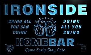 q21659-b IRONSIDE Family Name Home Bar Beer Mug Cheers Neon Light Sign