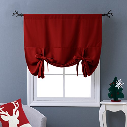 NICETOWN Thermal Insulated Burgundy Blackout Curtain - Tie Up Shade for Kitchen Window (Rod Pocket Panel, 46