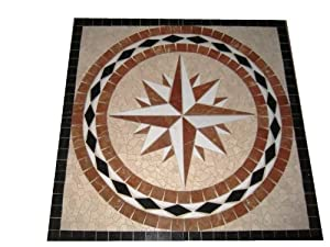Tile Floor Medallion Marble Mosaic Square Star Design 24""