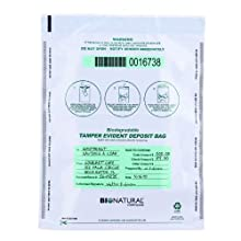 MMF Industries Bio-Natural Tamper-Evident Deposit Bags, 12 x 16 Inches, 100 Bags per Pack, White (236211406)