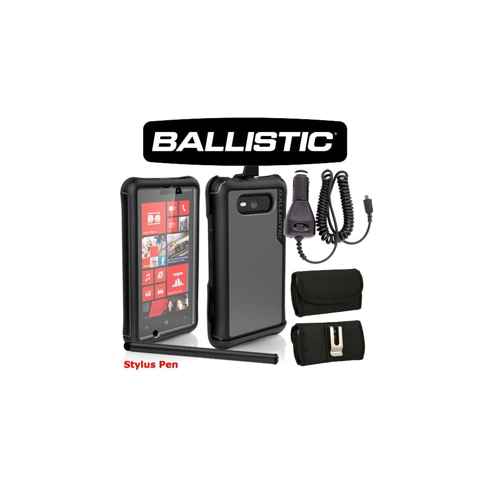 Ballistic Every1 Drop Protection Case for Nokia Lumia 820. Comes with Car Charger, Stylus Pen and Horizontal Metal Clip Case that fits your phone with the cover on it. Cell Phones & Accessories