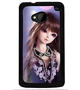 Printvisa Baby Doll Dressed Up In Blue Back Case Cover for HTC One M7::HTC M7