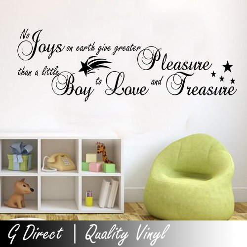 No Joys On Earth Wall Sticker Quote Pregnat Boys Bedroom Nursery Kids Childrens 100X55 front-196294