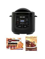 NewWave NW800 6-in-1 Multi-Cooker Electric Pressure Cooker in Matte Black w The Pressure Cooker Gourmet & Kamenstein Mini Spatula Spice Set by New Wave