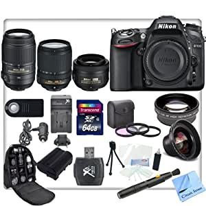 Nikon D7100 DSLR Camera with AF-S DX NIKKOR 18-140mm f/3.5-5.6G ED VR Lens + Nikon AF-S NIKKOR 55-300mm f/4.5-5.6G ED VR Zoom Lens + Nikon AF-S Nikkor 35mm f/1.8G DX Lens + CS Pro Kit: Includes 64GB SDXC Memory Card, SD Card Reader, Nikon ENEL15 Replacement Battery, Rapid Travel Charger, 3 Piece Filter Kit, High Definition Wide Angle Lens, 2x Telephoto HD Lens, Weather Resistant Backpack, Cleaning Pen, Starters Kit & CS Microfiber Cleaning Cloth