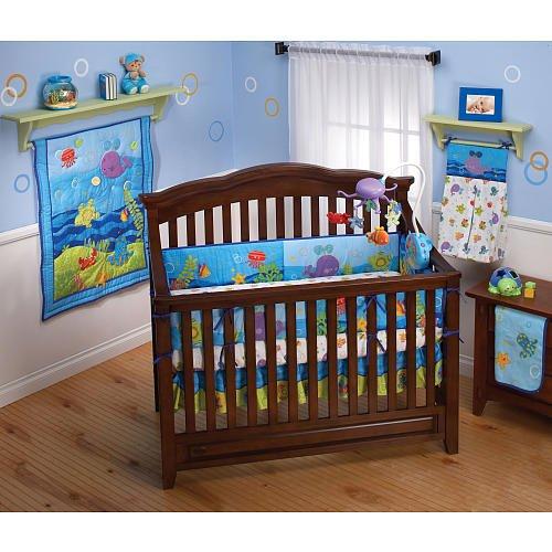 Fisher-Price Ocean Wonders 4 Piece Crib Set, Aqua/Green