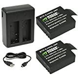 Wasabi Power Battery (2-Pack) and Dual Charger for SJ4000, SJ5000, SJ6000, and GeekPro Cameras