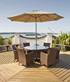 Port Royal Classic Rattan 6 Seater Round Dining Set, Brown, with Parasol