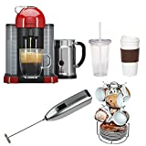 Nespresso VertuoLine with Aeroccino Plus A+GCA1-US-RE-NE (Red) with Espresso Cup and Saucer Set, Knox Handheld Milk Frother, Coffee Mug, and Iced Beverage Cup