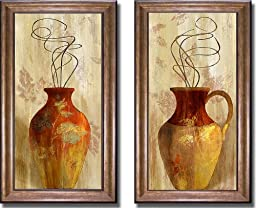 Fall Vessel I & II by Lanie Loreth 2-pc Premium Bronze-Gold Framed Canvas Set (Ready-to-Hang)