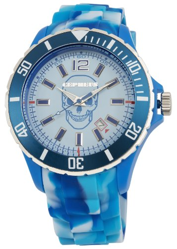 Cepheus Unisex Quartz Watch with Blue Dial Analogue Display and Blue Silicone Strap CPX01-093